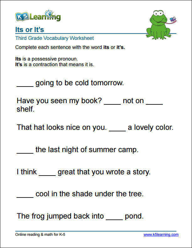 3rd grade it s or its worksheet