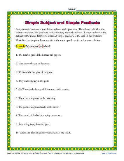 Simple Subject and Simple Predicate Worksheet Activity