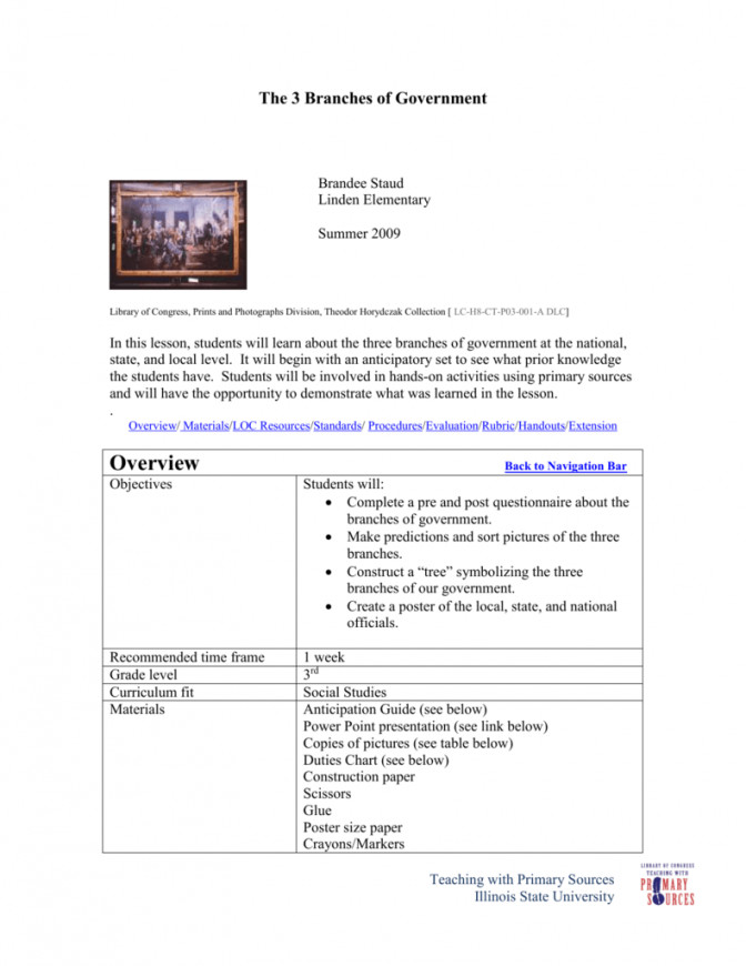 Three Branches Government Lesson Plan 1 Ca33a ab da94 Local Government Lesson Plans 3rd Grade Lesson