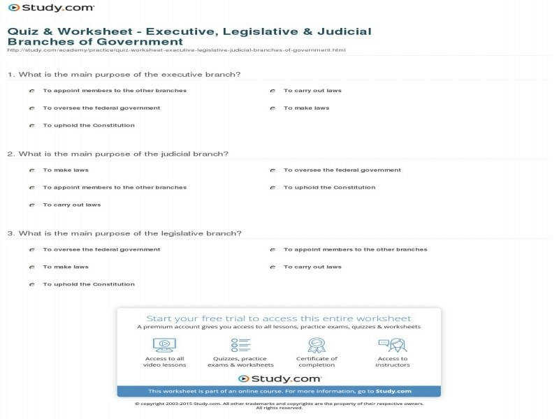 Quiz & Worksheet Executive Legislative & Judicial Branches