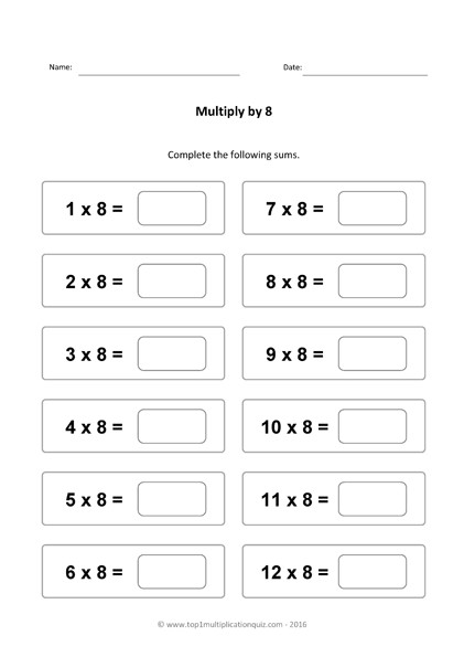X8 times table multiply by 8 test