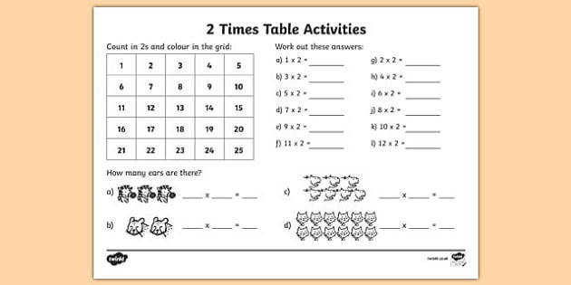 2 Times Table Activity Sheet 2 times tables counting 2s 2s 2