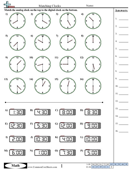 Matching Clocks worksheet Matching Clocks worksheet
