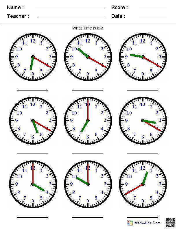 Telling Time on a Clock A huge variety of worksheets that you can generate based