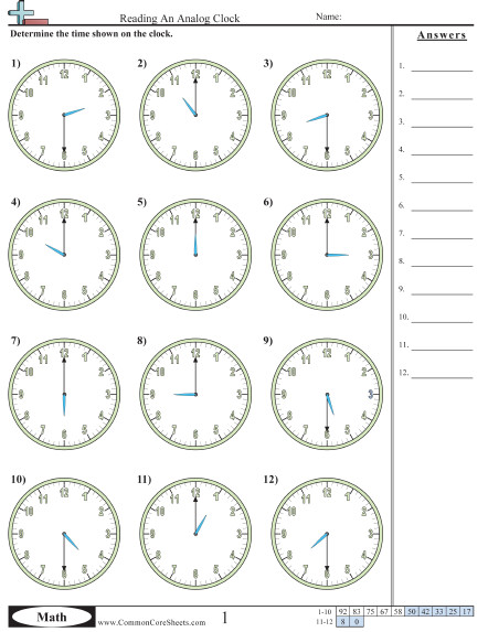 Reading An Analog Clock worksheet