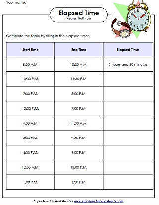 Free elapsed time worksheets Practice worksheets for elapsed time Passing time