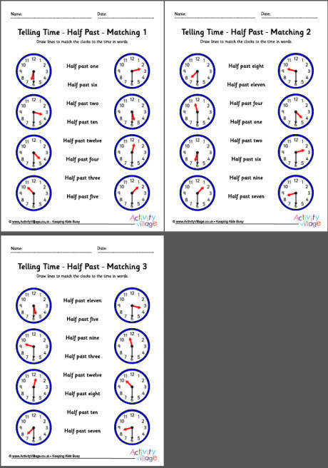 telling time worksheets half past pack 5 460 0