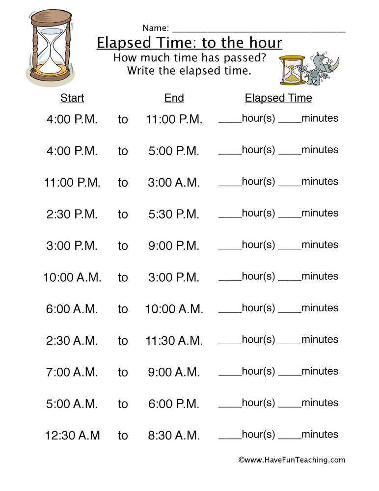 Elapsed Time Hour Worksheet 2