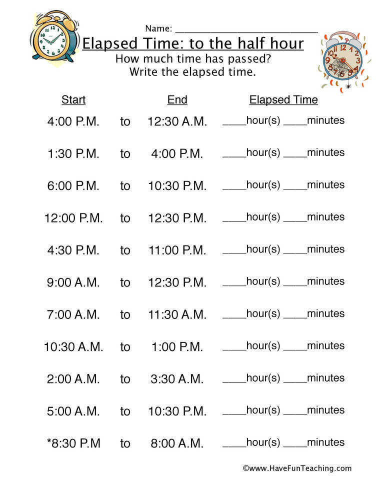 Elapsed Time Half Hour Worksheet 1