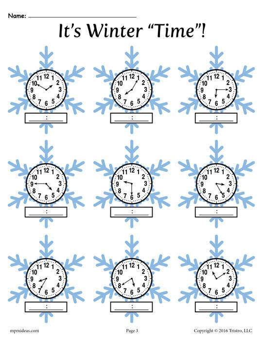 Five Minute Telling Time Worksheet