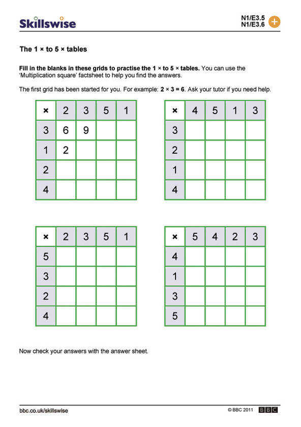 Times tables worksheet preview