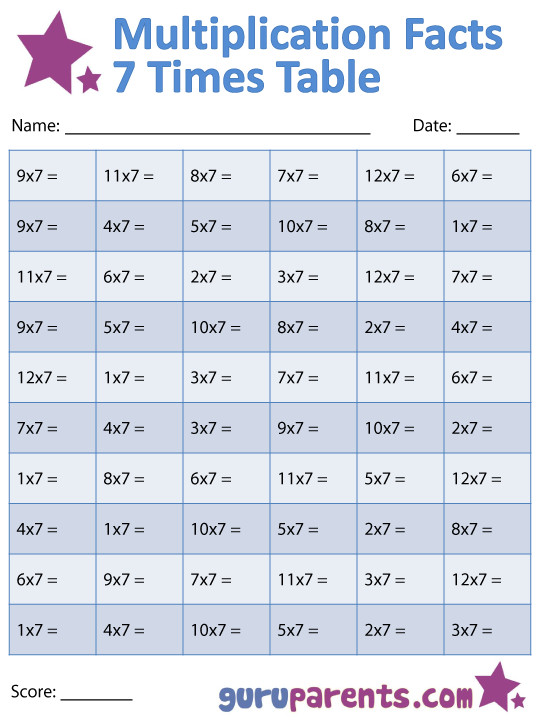 7 Times Table Multiplication Facts Worksheet