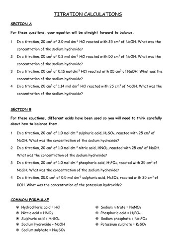 Worksheets Titration Problems Worksheet titration calculations by salreid teaching resources tes titrations questions doc