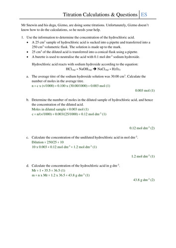 Titration Calculations and Questions Worksheet by CSnewin Teaching Resources Tes