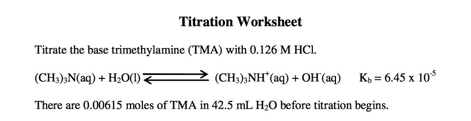 Titration Worksheet Titrate the base trimethylamine TMA with 0 126 M HC CHs