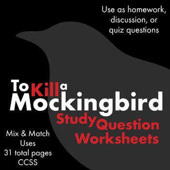 To Kill a Mockingbird Worksheets Quizzes Discussion & HW for Harper Lee s Novel