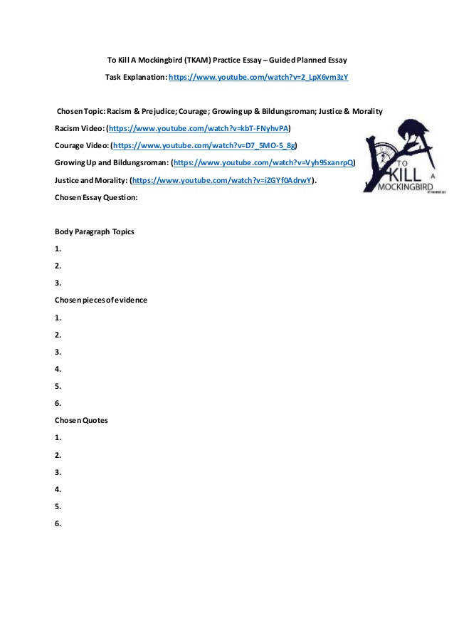 To Kill A Mockingbird TKAM Practice Essay – Guided Planned Essay Task Explanation