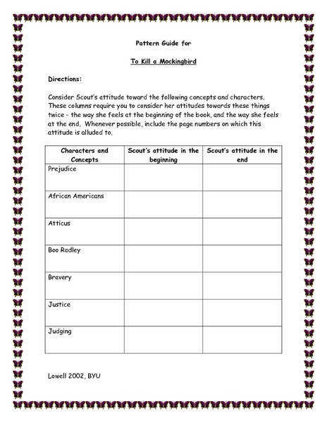 Pattern Guide for To Kill a Mockingbird 8th 9th Grade Worksheet