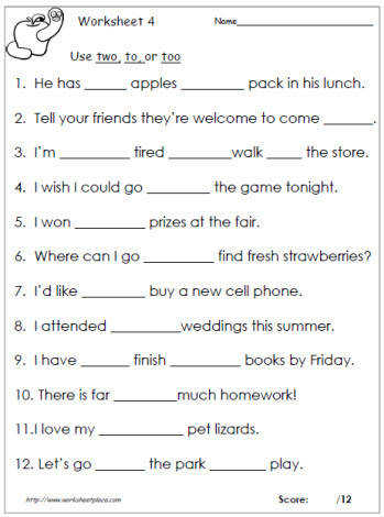 To too or two worksheets To too or two vocabulary worksheets and printables