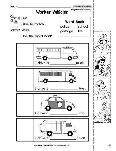 munity helpers cut paste worksheet 4