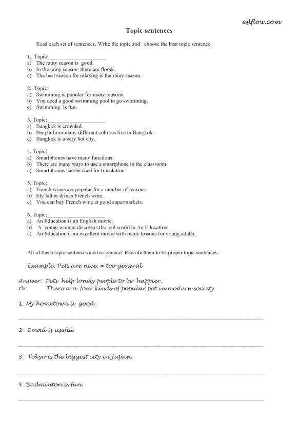 Level Topic Sentences Worksheet