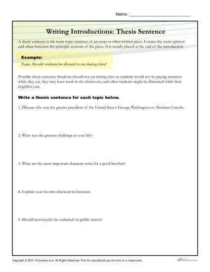 How to Write a Thesis Sentence Activity