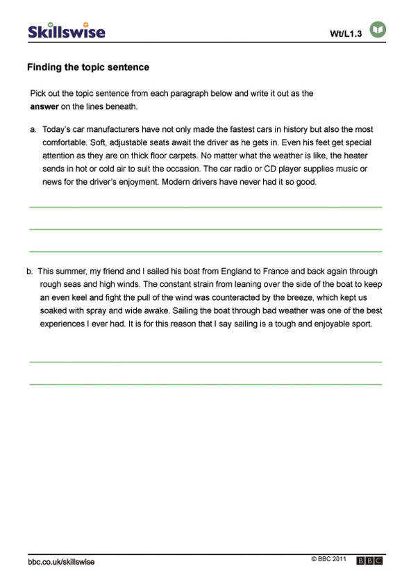 Building up paragraphs worksheet preview