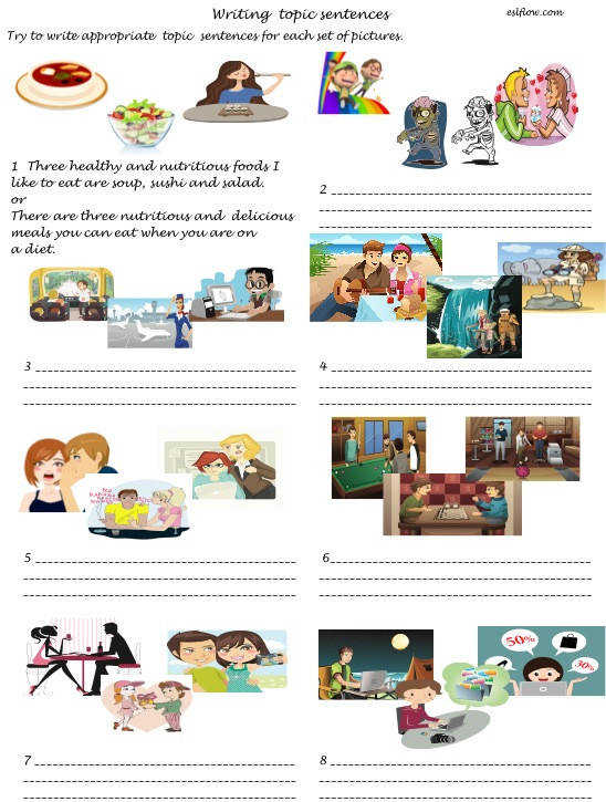 In this worksheet students practice writing topic sentences by looking at the pictures and trying to summarize three ideas in one topic sentence