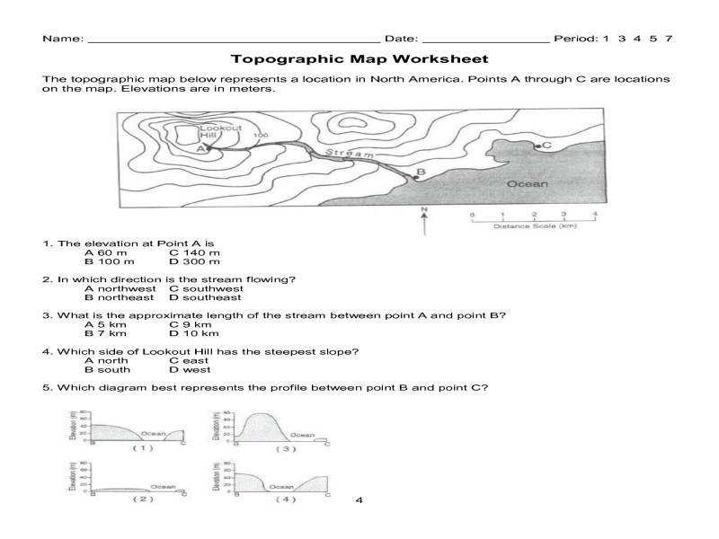6 Best Topographic Map Worksheets Printable