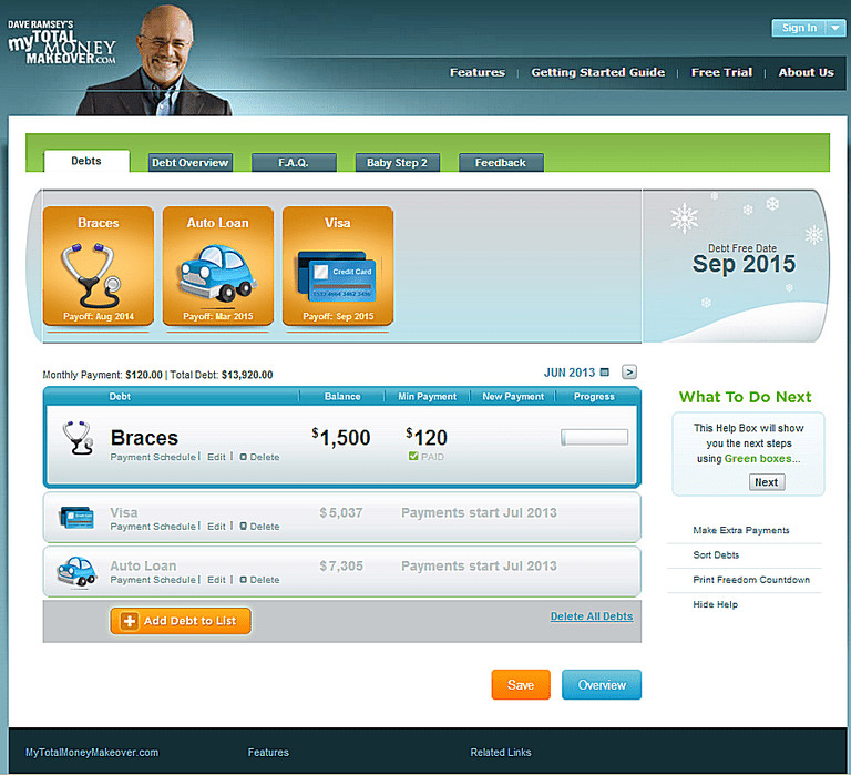 Debt Snowball app from Dave Ramsey Total Money Makeover