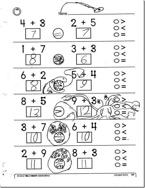 peter monsters touchmath worksheet