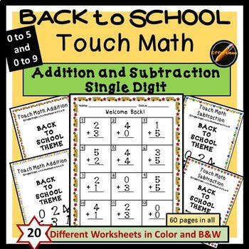 Back to School Touch Math Addition and Subtraction Single Digit