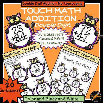Touch Math Addition with Halloween Cat Theme Double Digit NO Regrouping
