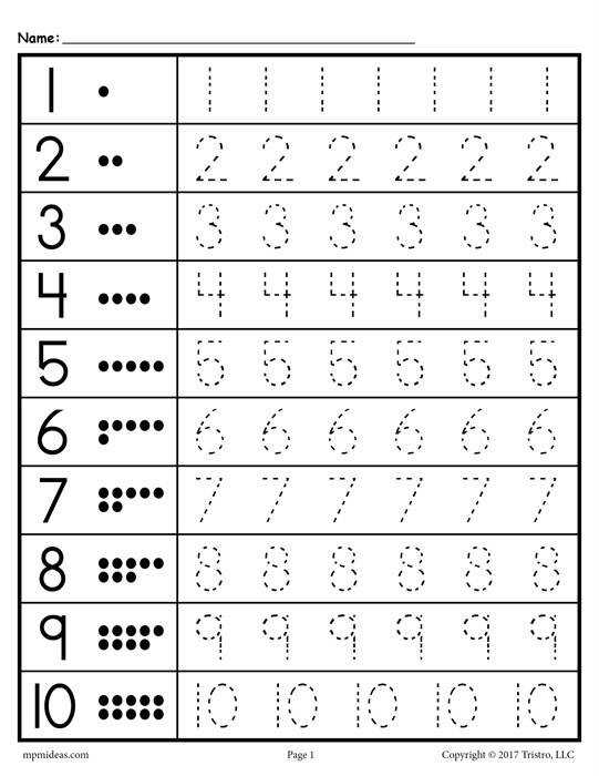 Numbers 1 20 Tracing worksheet rows 1 10
