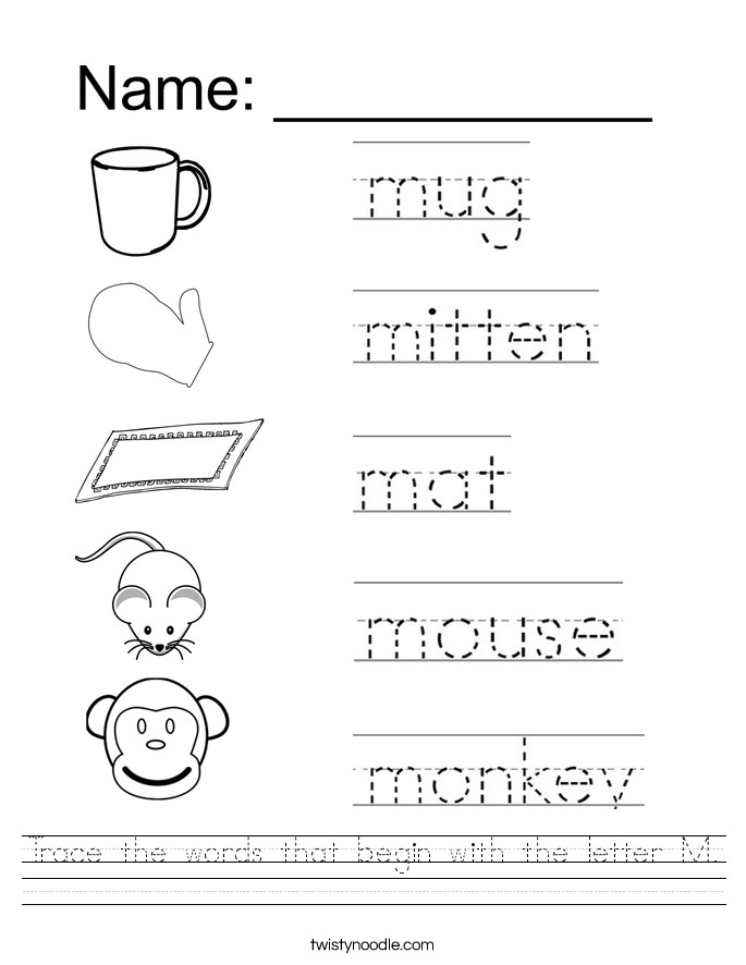 Image result for tracing word sheets