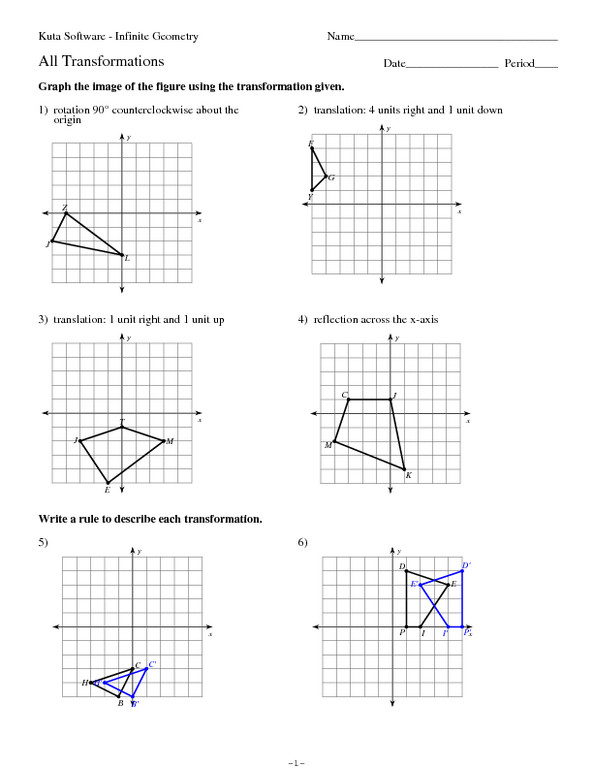 Geometry Transformation Worksheet