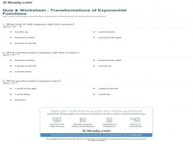 Quiz & Worksheet – Transformations Exponential Functions