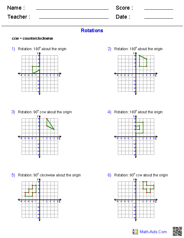 Transformations Worksheets · Rotations Worksheets