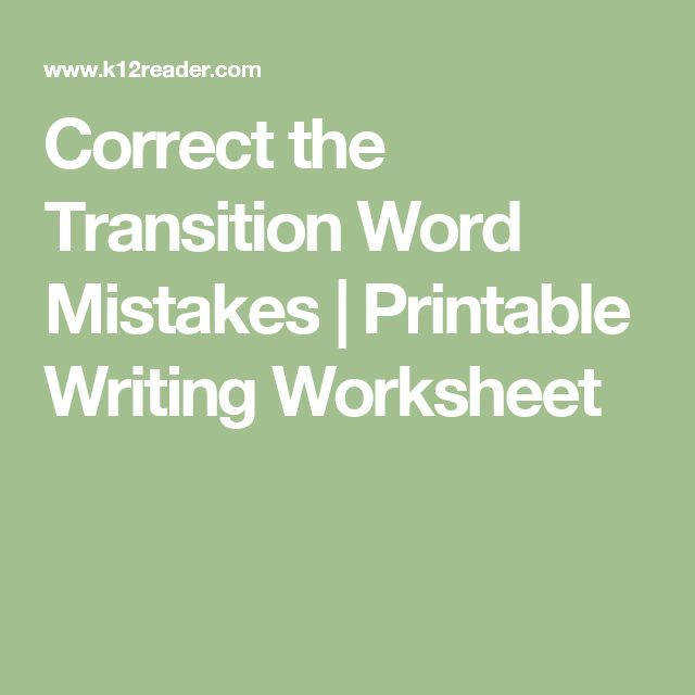 Correct the Transition Word Mistakes