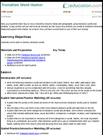 Transition words worksheet homeschooldressage 5th grade transition words learning resources ibookread PDF