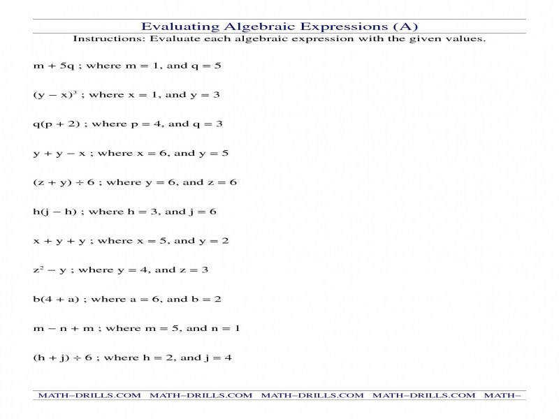 Evaluating Algebraic Expressions A