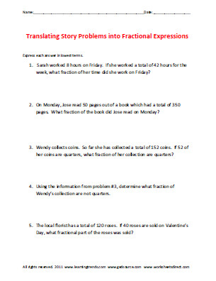 translating story problems into fractional expressions Download worksheets