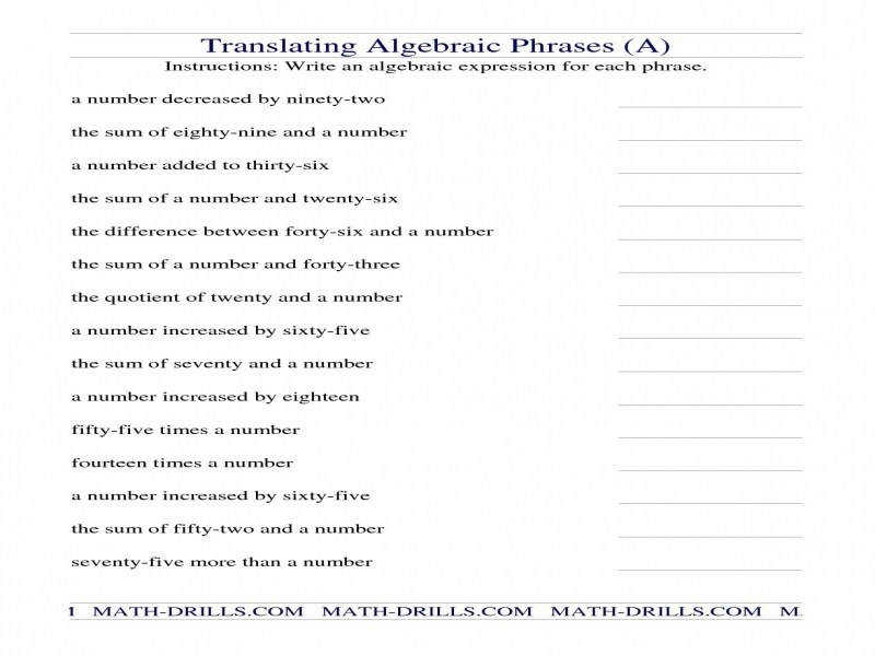 Writing Algebraic Expressions Worksheetwritings And Papers