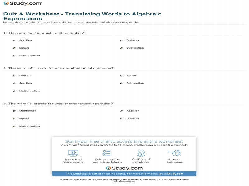 Translating Algebraic Expressions Worksheet Homeschooldressage