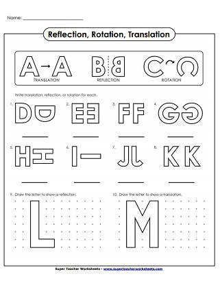 Translate Reflection Rotation Alphabet