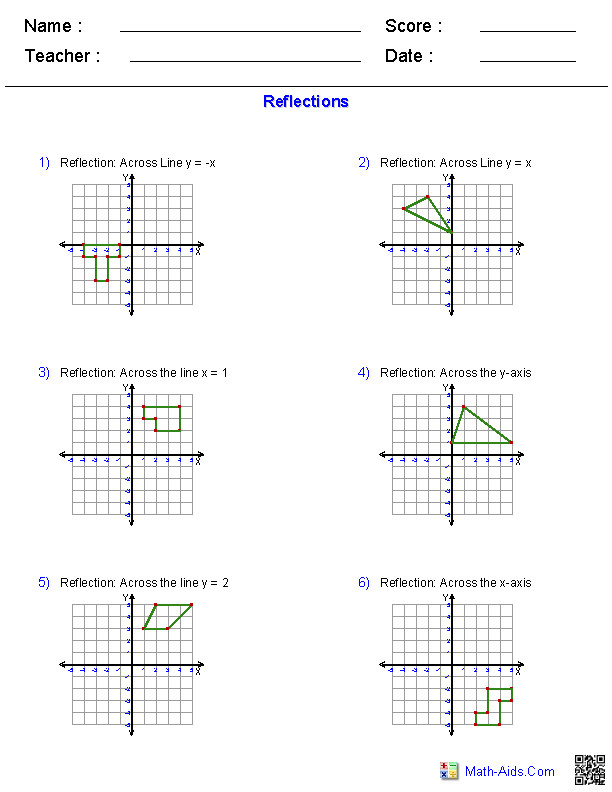 Transformations Worksheets · Reflections Worksheets