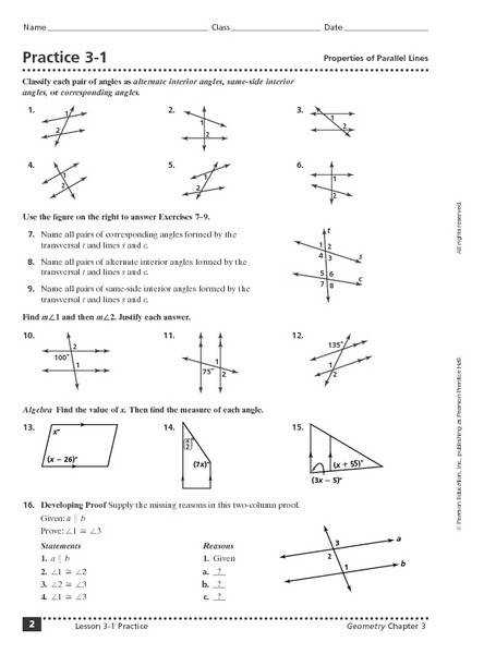 Parallel Lines and Transversal Wroksheet 10th Grade Worksheet