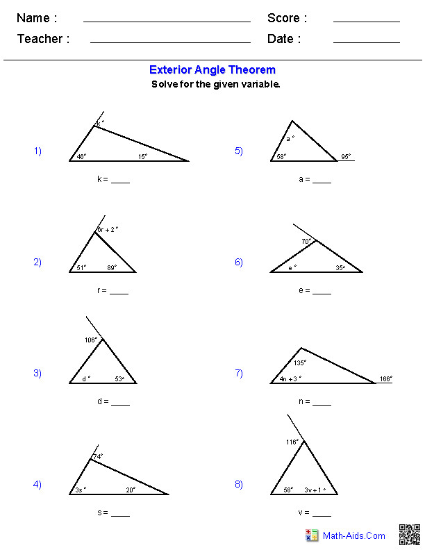 Triangle Worksheets · The Exterior Angle Theorem