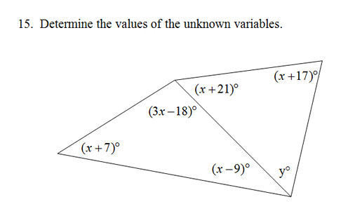 Triangle Sum and Exterior Angle Theorem worksheet with key X m &gt0