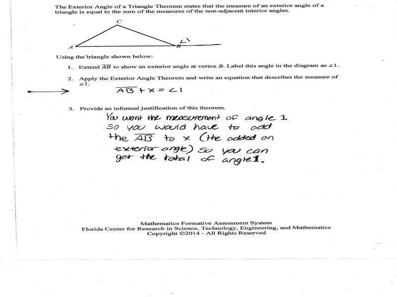 Worksheet Triangle Sum And Exterior Angle Theorem